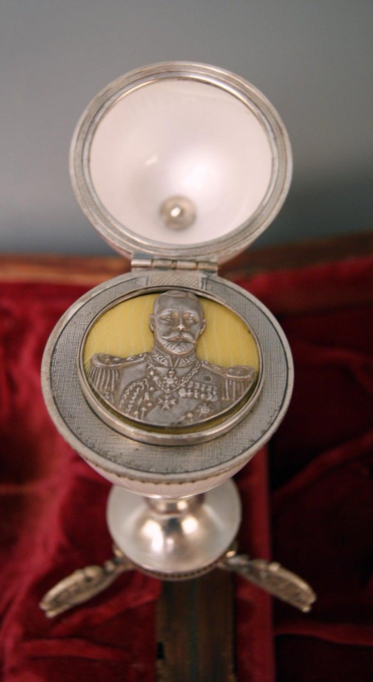Late 19th Century Silver Enamel Czar Nicholas II Egg Moskow Russian Empire, 1894 For Sale