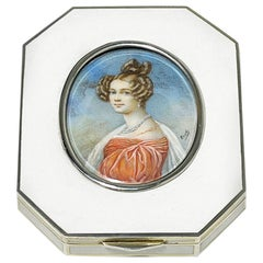 Silver Enameled Box by Rudolf Steiner, 1899 with a Miniature Painting