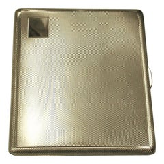 Silver Engine-Turned Cigarette Case Made in 1969, Birmingham, by S.J.Rose