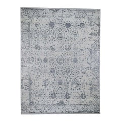 Silver Erased Wool and Silk Tabriz Design Hand Knotted Oriental Rug