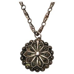 Silver Filigree Flower Pendant with Chain