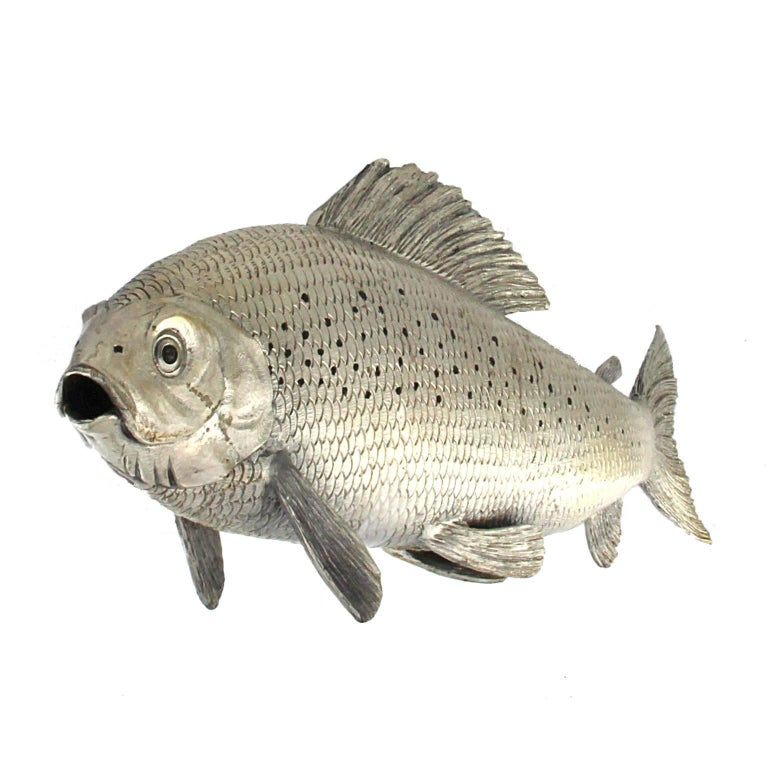 Silver Fish Grayling Sculpture For Sale