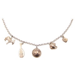 Silver Five Charm Link Necklace