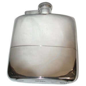 Silver Flask with Integral Cup, Dated 1932, Made In Sheffield James Dixon & Sons