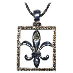 Diamond and Sapphire Silver Fleur-de-Lis Pendant
