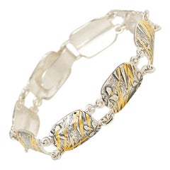 Silver Flower and Grasses Bracelet with 22 Karat Gold Kuemboo