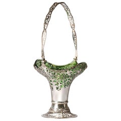 Silver Flower Basket by Mappin & Webb with Green Glass Liner