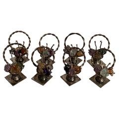 Silver Flower Basket Place Card Holders Set of 6