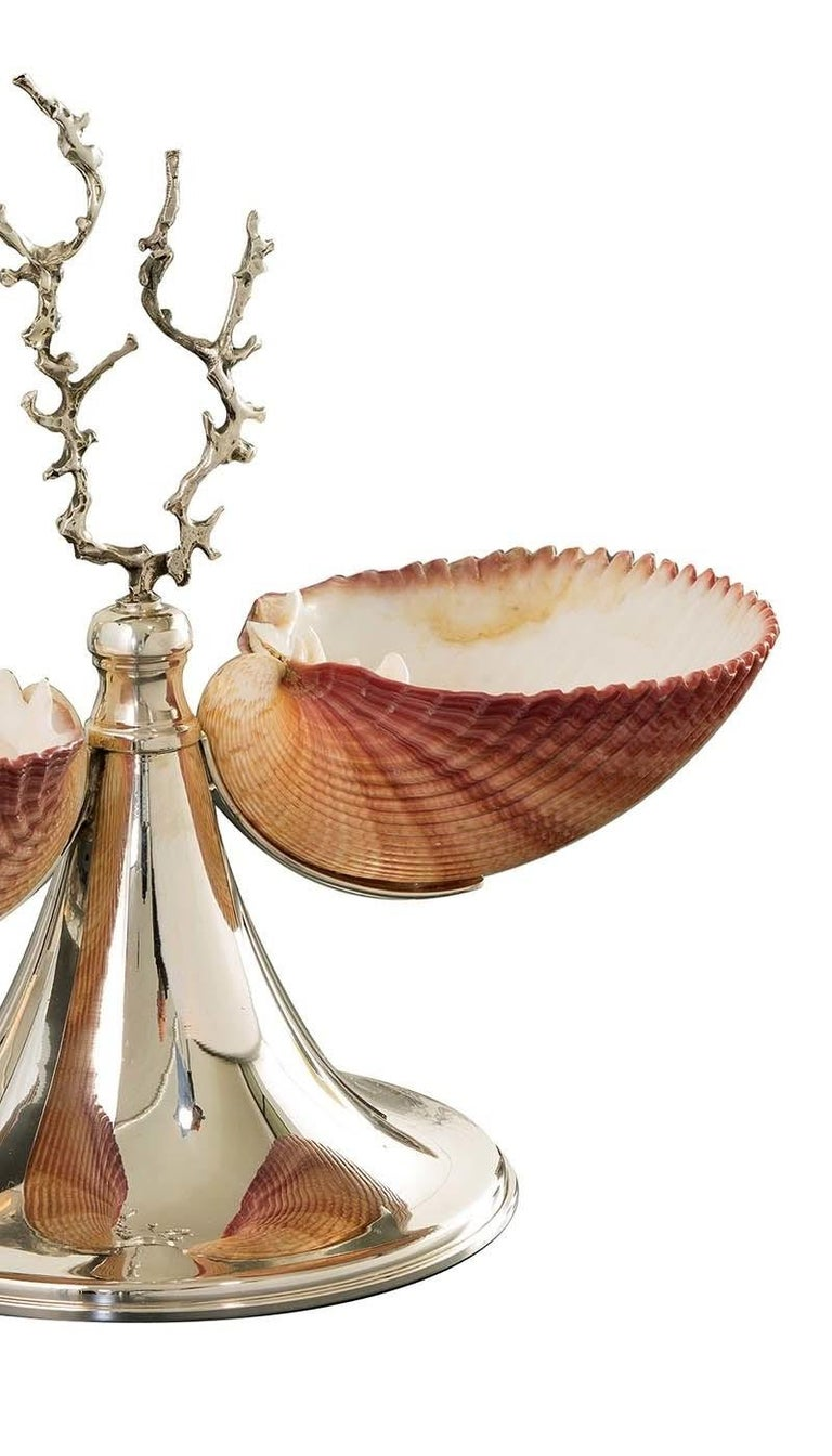 Italian Silver Footed Double Bowl with Shells For Sale