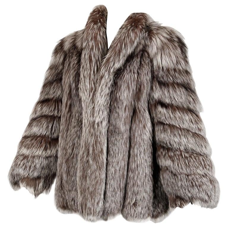 Silver Fox Fur Coat For Sale
