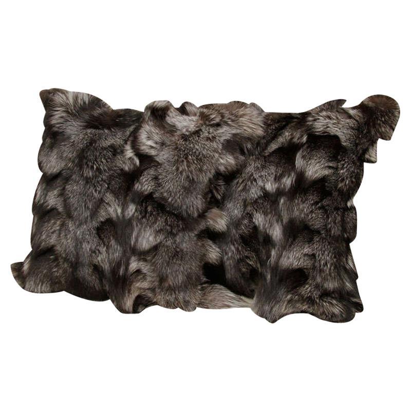 Pillow, Silver Fox Fur Pillow, Gray Color