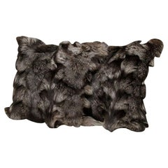 Pillow, Silver Fox Fur Pillow, Gray Color