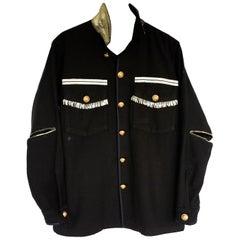 Fringe Embellished Jacket Military Black Gold Silk Gold Button J Dauphin