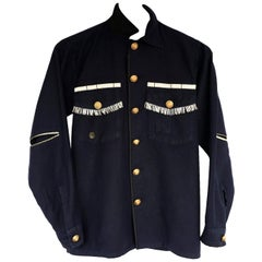 Silver Fringe Embellished Jacket Military Dark blue Silk Gold Button J Dauphin