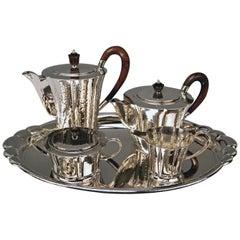 Silver Germany Coffee Tea Pot Creamer Sugar Bowl Tray Art Nouveau Wilkens 1905