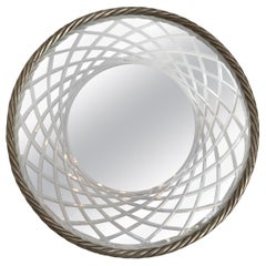Silver Gilded Carved Rope Round Mirror