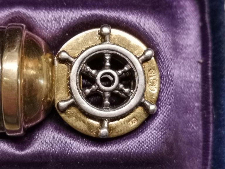 Silver Gilded Diamonds Whistle Russian Empire Moscow Lebedkin, circa 1905 For Sale 2