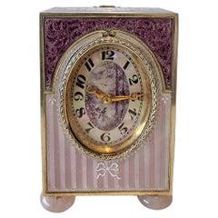 Silver Gilt and Guilloche Enamel Sub Miniature Carriage Clock