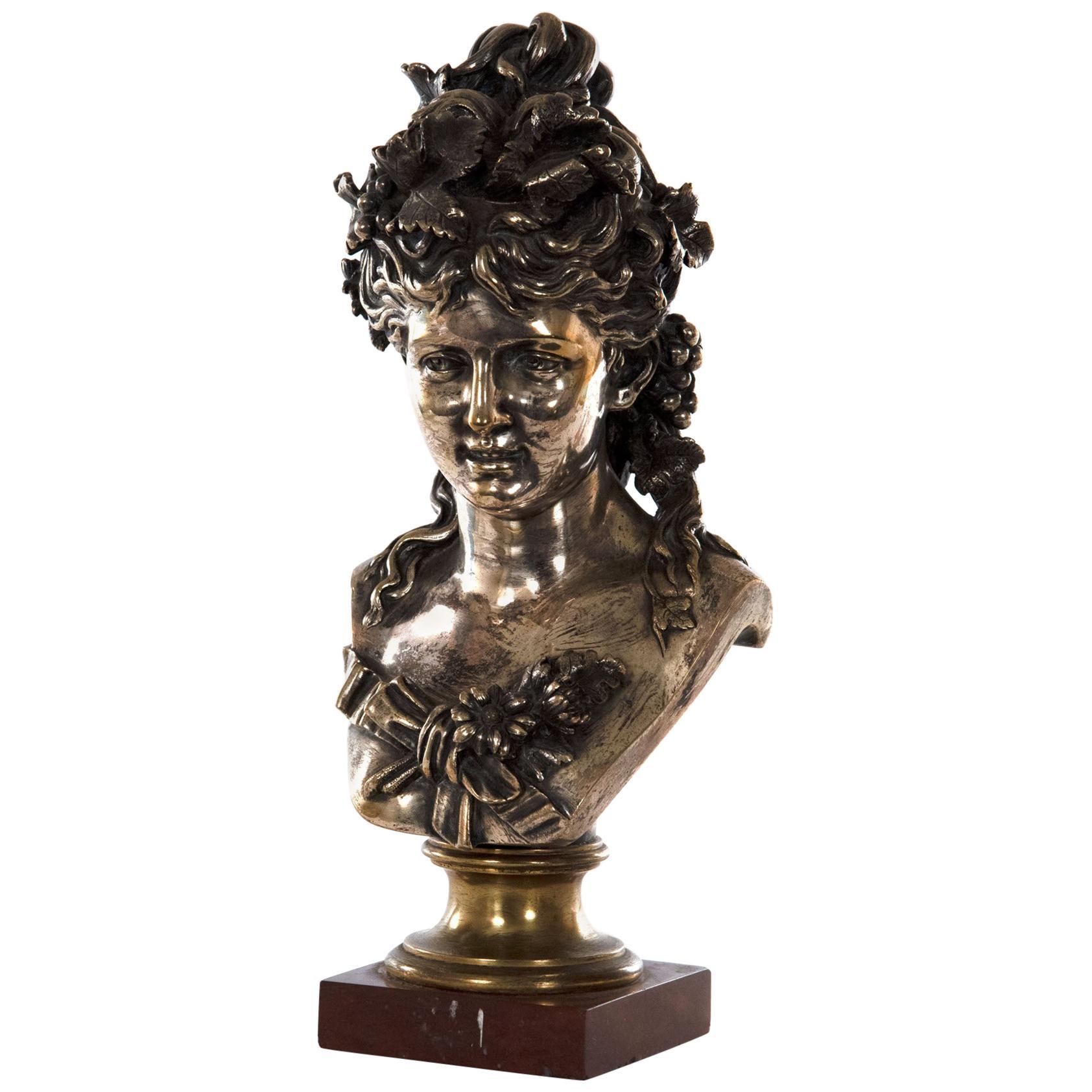 Silver-Gilt Bronze of a Woman by Jean-Louis Grégoire