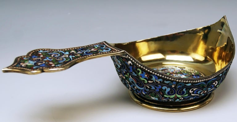 Other Silver Gilt Cloisonné Kovsh Beak-Spouted Russian Empire Moscow, circa 1882-1898 For Sale
