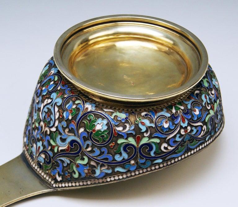19th Century Silver Gilt Cloisonné Kovsh Beak-Spouted Russian Empire Moscow, circa 1882-1898 For Sale