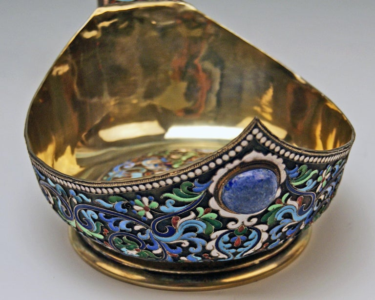 Sterling Silver Silver Gilt Cloisonné Kovsh Beak-Spouted Russian Empire Moscow, circa 1882-1898 For Sale