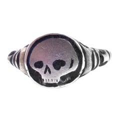 Silver Gilt and Enamel Late Renaissance Skull Ring