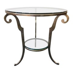 Silver Gilt Steel and Glass Round Side Table