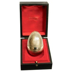 Silver Gilt Stuart Devlin Egg, Dated 1979, London Assay, in Fitted Box