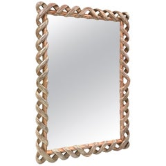 Silver Giltwood Ribbon Mirror James Mont Style