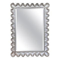 Silver Giltwood Scalloped Edge Moderne Style Wall Mirror