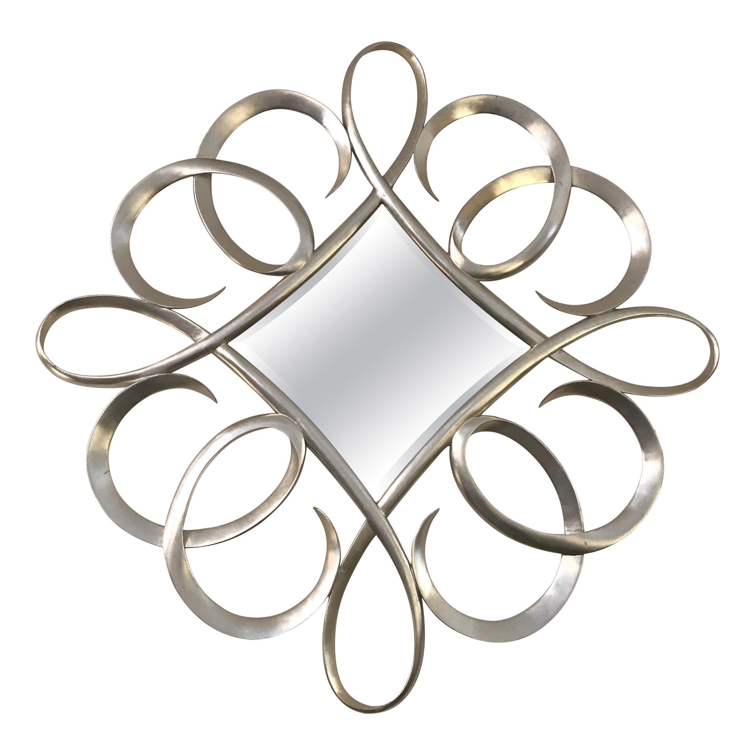 Silver Giltwood Swirl Mirror by Christopher Guy