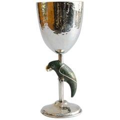 Silver Globet with Malachite Taxco-Los Castillo