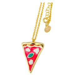 Silver gold bathed Pizza handmade necklace