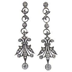 Silver Gold Diamond Long Drop Earrings