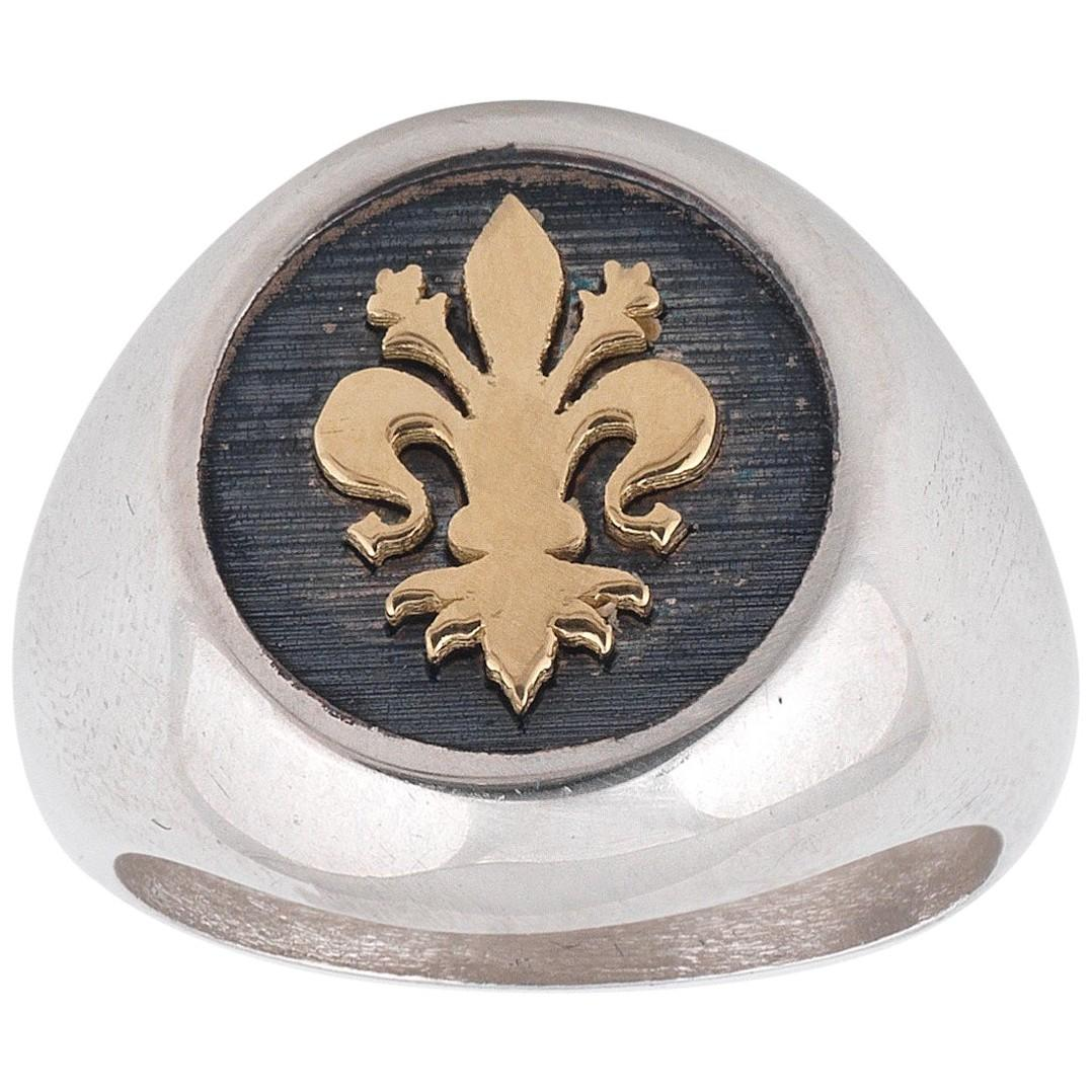 Silver Gold Lily of Florence Signet Ring