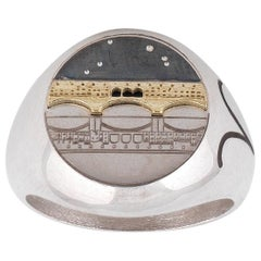 Silver Gold Old Bridge Zodiac Constellations Signet Ring