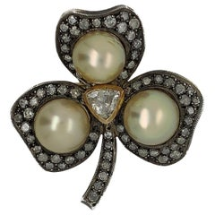 Silver and Gold Rose Cut Diamond with Cultured Pearl Brooch