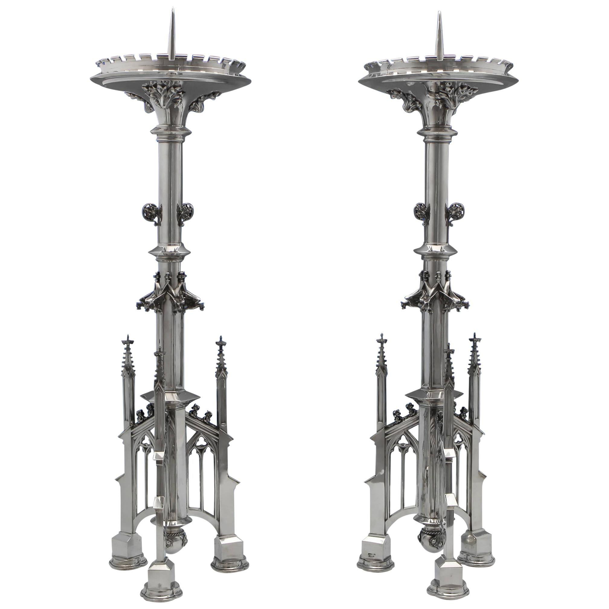 Antique German Silver Gothic Revival Candlesticks c.1890 Retailed Janssen & Co.