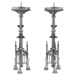 Silver Gothic Revival Candlesticks