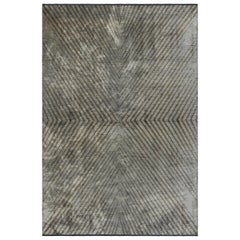 Silver Gray and Brown Contemporary Chevron Pattern Luxury Soft Semi-Plush Rug