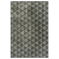Silver Gray and Khaki Brown Triangle Diamond Geometric Pattern Rug with Shine