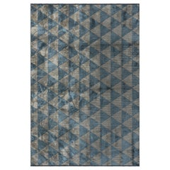 Silver Gray and Light Blue and Triangle Diamond Geometric Pattern Rug with Shine