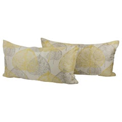 Silver Gray and Yellow Damask Throw Pillows, a pair
