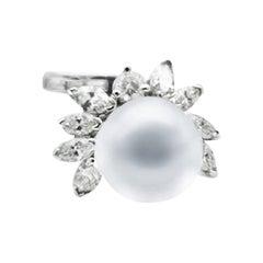 Silver Gray, Tahitian Pearl, Wrap Diamond Ring