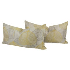 Silver-Gray Yellow Damask Throw Pillow, a Pair