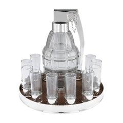 Silver Grenade 12 Person Vodka Drinking Set, Pushkin Alexander, circa 2019