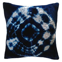 Silver Grey and Blue Indigo Halo Velvet Pillow with Linen Backing