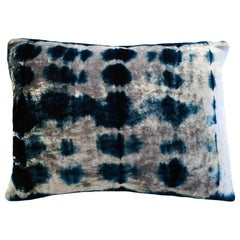 Silver Grey and Blue Indigo Inkblot Velvet Pillow with Linen Backing