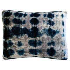 Silver Grey and Blue Indigo Inkblot Velvet Pillow with Linen Backing